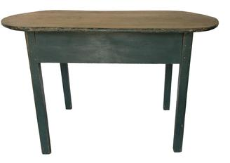 "E232 18th century Massachusetts Traven Tabe with a beautiful  scrubbed oval one-board top, in original green painted surface, The top is resting on a mioristed and pegged base with breaded legs with molded outer edge. ( circa 1790 -1810 ),Early home repair  Measurements are  25 3/4"" High , 40 1/2"" Wide , 30"" D."