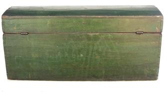 Y10 Mid 19th century  Dome Top Box in Dark Green Paint  dovetailed case dome top Doucement Box  in the original  green paint,  circa 1850,
