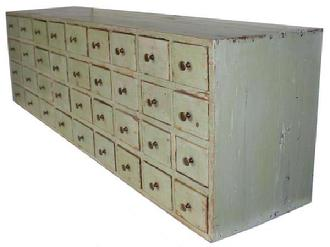 C482 19th century New England Apothecary with apple green paint, Mid 19th with Thirty-six dovetailed drawers , with square head nail case, circa 1850