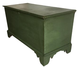 "D367 Late 18th century Pennsylvania Blanket Chest, circa 1780- 1810  in old moss green over the original blue, dovetailed case with an applied bracket base, the lid has a molded edge with bread board ends which are mortised and pegged, tee nail construction, the bottom of the chest are running front to rear which is typical of 18th century Measurements are: 46 1/2"" wide x 20 1/2"" deep x 24"" tall"