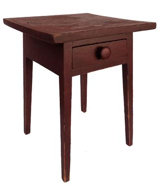 "E208 Beautiful early Lancaster County Pennslyvania  19th century County Hepplewhite splay leg one drawer stand, in original red dry painted surface. Splayed dovetailed drawer, one board top, square head nail construction 100% original Measurements 20 1/2' wide  X 20"" deep X 27 1/4' tall"
