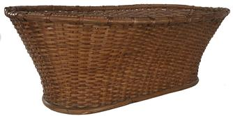 "D578 19th century Large beautiful, large scale,  basket of New England  origins. Handsome woven construction with wonderful  worn and weathered overall surface and patina and a solid wooden bottom painted blue., with a double wrapped rim   Ladies  often used  baskets for gathering . This basket was used in New England   during the late 19th century measurements are:31"" long x 11 1/2 "" tall x 19 3/4"" deep"