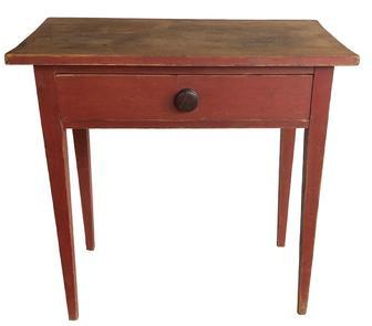 F95 Early 19th century Country Hepplewhite one drawer Server / Side Table, in the original red paint, the over sizes drawers is dovetailed , with a one board scrub top, nice tapered legs,