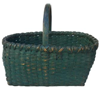 "X170 A  wonderful example of early Gathering  Basket, exceptional original painted green surface, no repairs, nor touch ups, double wrapped rim, minor breaks in the bottom, hand carved handle, hickory splint, sturdy .18"" long x 13"" wide x 15"" tall"