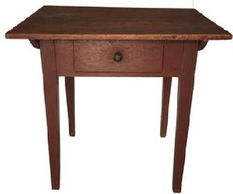 D349 18th century  Shenandoah Valley Virginia, pin top  Work Table 1780-1800, it retains it original red paint,   two board top with dovetailed batons , dovetailed drawer, with a nice tapered hepplewhite leg.