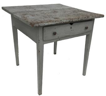 Q594 19th century Virginia Work table with the original pewter gray paint, and a dovetailed drawer,two board top, all yellow pine, Augusta Co Virginia circa 1840