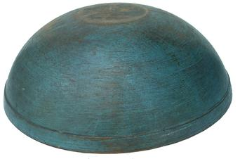 "X267 19th century Pennsylvania original blue painted wooden bowl,American, mid-19th century,  A  lathe-turned bowl having a beaded rim and incised lines near rim and at foot.slightly out of round, Retains an old dry blue paint with good patina;14 1/2"" diameter x 5"" tall"