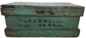 RM585 Historic Identified Late Civil War thru Indian War 3rd US Cavalry Officers Footlocker in original blue paint (c)  1860�1890