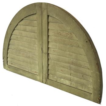 "F59 19th century painted Arched Wooden Louvered Shutter, mortised, in a half round design. Measurements are: 40"" long x 20 3/4"" tall"