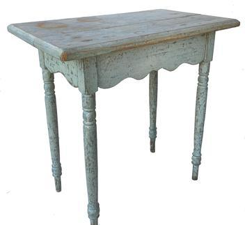 "F215 19th century New England side Table with a elaborate scalloped apron on all four sides, it has a two board top, retains the remains of oyster white paint over the original blue. Circa 1850 the wood is white pine and poplar Measurements 28 1/2"" wide x 17"" deep x 27 1/2"" tall"