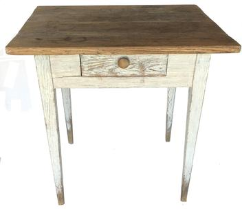 "E409  19th century Southern Hepplewhite  Work Table , with the original white paint the table has a single dovetailed drawers, with a two board top , fine tapered legs, the wood is yellow pine, circa 1840  Measurements are 30"" wide x 25"" deep x 30"" tall"