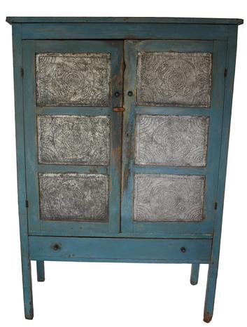 "C213 19th century Pennsylvania blue twelven hand punched tin Pie Safe, in old robin egg blue paint, with a dovetailed drawer, the interor of the Pie Safe is a pretty mustard paint, it rest on tall  leg,  Measurements are  59 1/4 heigh x 38 1/4"" wide"