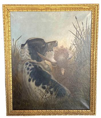 "G67 19th century oil painting  on canvas of Setter with Crouse bird , siged and date 1885  in original frame Measurements are 27 1/2"" wide 33 1/2"" tall"