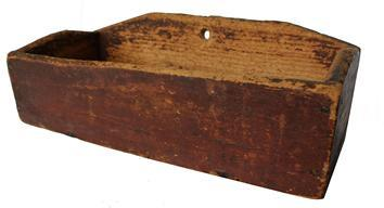 C171 Early 19th century Dough Box with original red paint the wood is pine, the dough box has slanted sides and removable top Condition is great with typical ware for this early of a piece