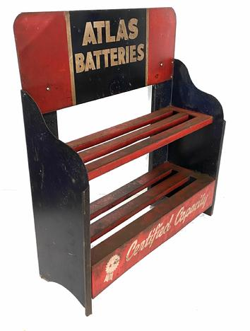G50 ATLAS BATTERIES METAL BATTERY DISPLAY STAND, original paint, red,  black and white paint, a great display piece for a auto collection, Measuremwnts are