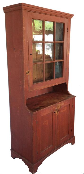"A222 19th Century Softwood Single Part Step Back Cupboard with Original Red Paint. Molded cornice, nine pane glazed upper door, open pie shelf, two lower paneled doors, molded bracket base. 80""h. x 38-1/4""w. x 18 3/4""d. Condition: Good, paint wear and stains."