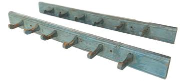 F308 Rare  Pair of matching 19th century Pennsylvania  blue painted Peg Racks with six  pegs in each one , circa 1820 mounted on a single board with a beaded edge on top and bottom Measurements are  2 1/2� tall x 29� long