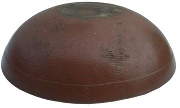 "V328 19th century lathe turned wooden Bowl with the original nutmeg color paint no cracks chips or breaks 14 1/2"" diameter"