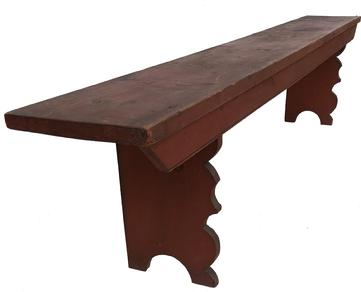 "E365 19th century Lancaster County, Pennsylvania double mortised Hall Bench circa 1800-1820, beautiful dry never over painted red paint, very elaborate boot jack cut out ends. Measurements are: 86"" long x 10 3/4"" deep x 18 1/2"" tall"
