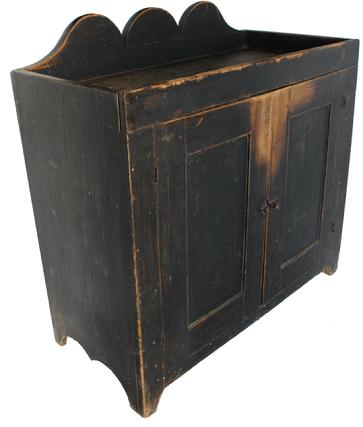 "JR5 19th century Bedford, Pennslyvania very unusual form Drysink with the original black paint, wonderful high  scalloped back splash, open well, showing great wear to the doors and well circa 1840 all original  38"" wide x 38"" tall x 18"" deep"
