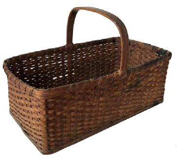 E356 Eastern Shore Maryland early 20th century  Basket, wooden bottom Gathering basket. Very unusual form having a solid wooden bottom of pine, single wrapped rim with a few broken pieces. Steamed and bent handle