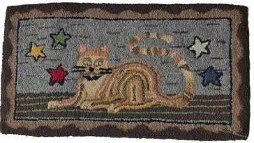 Late 19th century Wool and Cotton Hooked Rug, America, worked in shades of brown, red, and blue, yellow, green and black, gray . Central Cat figure laying on a rug flanked by five stars, with a scalloped  borders did in beige and brown, in great condition Measurements are: 33� x 18�