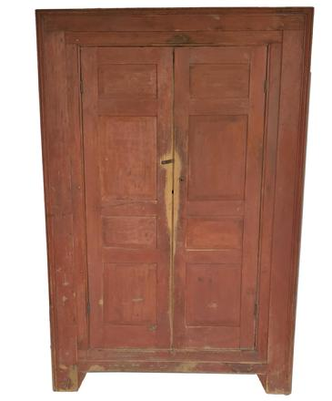 "X388 18th century Wall Cupboard with two raised four panel doors. Front of the Cupboard has molded perimeter and is recessed again to the door, small bracket feet with gusset on front. Four full interior shelves 74"" high x 49"" wide x 21 deep"