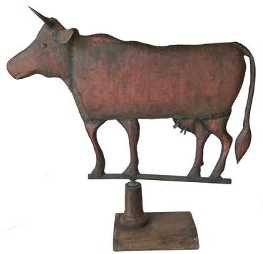E206   Late 19th century Cow Weathervane Pennsylvania  One of a kind, Full body copper, Excellent condition, wonderful oxidized surface. Provenance: Directly from a private collection in Hersey Pennsylvania. The full-body form of this cow weathervane is well defined and shows in detail the likeness of a real cow. Probably made by a local tin smith, Dimensions: 30� long x 23 ½� tall x 22� tall on stand it is 30� tall