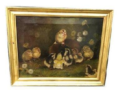 F18 Wonderful oil painting of a baby chick standing on an old tin can with a worm in his beak and nine additional fluffy chicks gathered around. Painting is attributed to world renown artist, Ben Austrian (1870 � 1921).