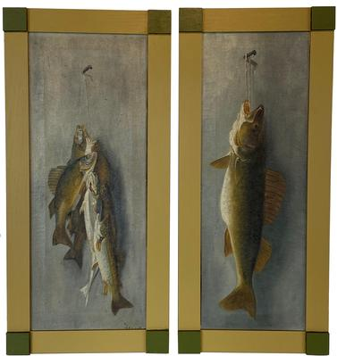 "F189 Early 20th century New Jersey  paintings on Canvas of Fish beautiful painted and mounted in newer frames signed by the Artist, George Greene Painter � Poet, George Greene was successful as both a painter and a poet.He was  Born 05/06/1908, Boston, Massachusett - Died 01/26/1995, Lambertville, New Jersey, His works made their way into several museum collections, including the Guggenheim. In 1983, a fire in his home in Princeton destroyed most of the artwork from his career of forty years. While he continued to paint, Greene focused on his poetry. At the age of eighty-four, he was the only three-time winner of the well-known and highly competitive weekly poetry slams at Karla's Restaurant in New Hope. Measurements are: 34"" x 16"""