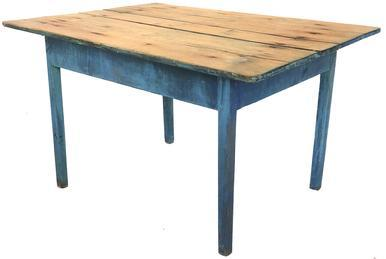 F75 18th Century New England original blue painted farm table with three board scrub top.  The wood is all pine. Rose head nail construction.  Measurements:  47 1/4� wide x 34 1/2� deep x 27 3/4� tall (with floor to apron being 21 1/2� tall)