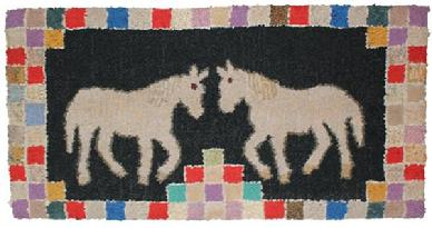 B404  Early 20th century  Two horses facing each other with a checker board patterned border. The rug has been professionally mounted on frame Hooked rugs are arguably one of the few indigenous North American folk arts, and they were extremely popular throughout the nineteenth century