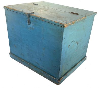 "G9 Early 19h century Pennsylvania original  Blue painted pine bin with  blacksmith hand made  latch, dovetailed case, applied molding around base all original circa 1820 31 1/4"" wide  24 1/2"" deep x 25"" tall"