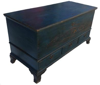 "Z377 18th century   Paradise ,Pennsylvania   ,Chippendale "" Dower "" Blanket Chest,(circa 1780)  In Excellent Overall Condition. Beautiful original blue painted  Chest  resting on an OG applied feet in the original black paint.. The 3 Drawers have brass Chippendale pulls ,beautiful  hinges with  fishtail end, original crab lock.   All of the Nails are , Roseheads, with wooden pegs . The Drawers and Case are  Dovetailed,  ,  The Woods used are Walnut wood on the Till Lid, Pine Wood for the Chest ,and the Secondary wood is Poplar. It measures 54 1/2"" across the front x 24"" front to back ,and it is 29"" high,"