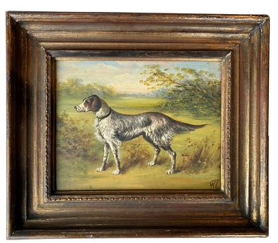 "SB10   On Point"" Bird Dog painting oil on artist board dates to the late 19th century, There is  a signature W.H. The artist captured the motion very competently. As the painting is over 100 years old from Baltimore MD , in the original frame and information on back that it was framed in Baltimore"