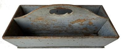 D472 19th century Virginia, Cutlery Box in early 19th century pewter gray paint, dovetailed case, canted sides ,with high arch center divider, and a cut out handle , the wood is cherry, circa 1820
