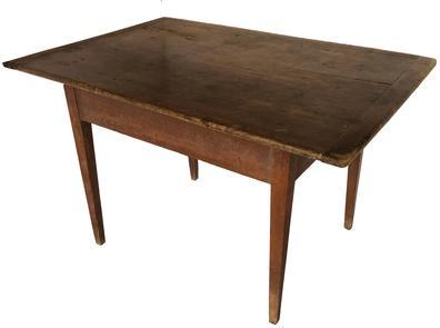 "D529 Late 18th century Newbury port, Essex County, Massachusetts Tavern Table, dry original red paint, one board top 29"" wide, with mortised and pin bread board ends which is pegged on"