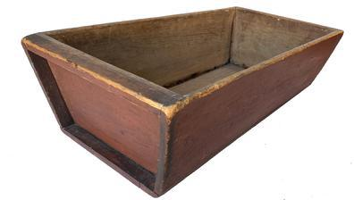 L215 Early 19th century Dough Box in the original dry red paint, this Dough Box is 5 board construction, dovetailed jpointed, with a nailed on bottom with square head nails, beautiful old patina