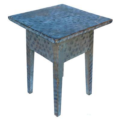F536 Early 19th century Shenandoah Valley Virginia Hepplewhite splay leg side table, circa 1840 with wonderful folk art decorated paint , gray back ground with black dots on the top , with striped leg.