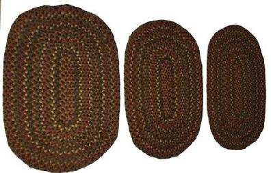 D255  All hand made braided rugs a matching set of three, great colors and condition