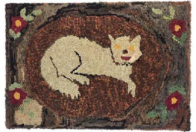 E53 Early 20th century Fantastic Folky Cat Hooked Rug Mounted on frame beautiful colors, Gray Cat laying on mat, background surrounded by boarder