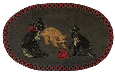 E538 Exemplary American Hooked and Braided Rug on stretcher, ready to hang � features three playful cats with a ball of yarn centered in a tightly hooked oval grey wool background with two complimentary braided wool rows to frame the outer border.