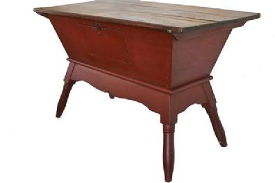 B214 Early 19th century Dough Box on stand, (circa 1820) with wonderful red paint found in Lancaster County Pennsylvania . Dove-tailed case, with very gracefully turned splayed legs with removable lid
