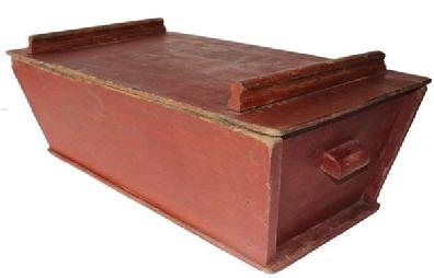 C171 Early 19th century Dough Box (1810 ) with original red paint the wood is   pine, the  dough box has  slanted sides and removable top Condition is great with typical ware for this early of a piece