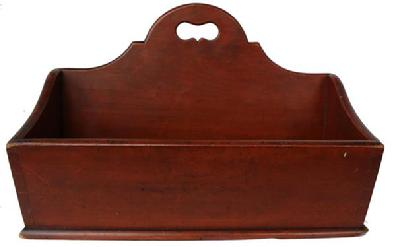 "C342 19h century  Cutlery Tray, with original  dry red wash,circa 1830-1840  nice high cut out handle, with canted sides,  dovetailed case, found in Lebman Co. Pennsylvania  11"" deep x 14"" wide x 9 1/2"" tall"