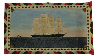 C536 20th century painted canvas rugs also known as floorcloths or oylcloth, of a ship at sea with a whale great colors good condition