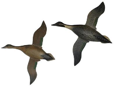 "C33 OUTSTANDING  FLYING PAIR OF PINTAILS IN ALL ORIGINAL CONDITION AS WELL AS PAINT. CARVED AS A WALL HANGING . .MEASURES 19 1/2"" LONG BY 20 1/2"" WING TIP TO WING TIP. VERY DETAILED PAINTING ON WINGS AS WELL AS BODY. SIGNED ANS DATED  ON BACK BY THE CARVER."