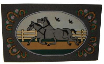V41 Pennsylvania Amish Hooked Rug wool on burlap, oval central panel with two running horses ,possibly by Salome Stoltzfus, circa 1935  professional cleaned and mounted.
