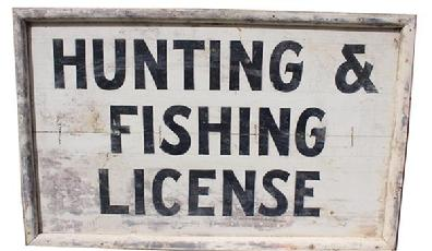 "C122 Early 20th century country store wooden trade sign ""Hunting Fishing License"" black letting on white board.This is a two-sided sign, all original paint."