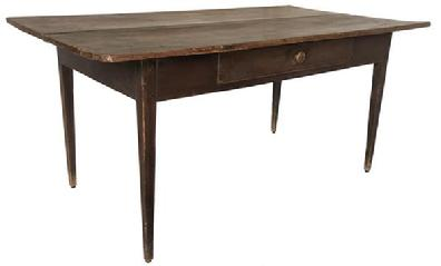 (L418) 19th century North Carolina hepplewhite table original dry red surface with a dovetailed drawer and three board top, the base of the table is mortised and pegged From Windston Salem Circa 1840